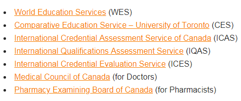 Educational Credentials Assessment (ECA) organizations in Canada